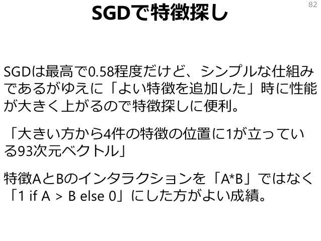SGDで特徴探し SGDは最高で0.58程度だけど、シンプルな仕組み であるがゆえに「よい特徴を追加した」時に性能 が大きく上がるので特徴探しに便利。 「大きい方から4件の特徴の位置に1が立ってい る93次元ベクトル」 特徴AとBのインタラクシ...