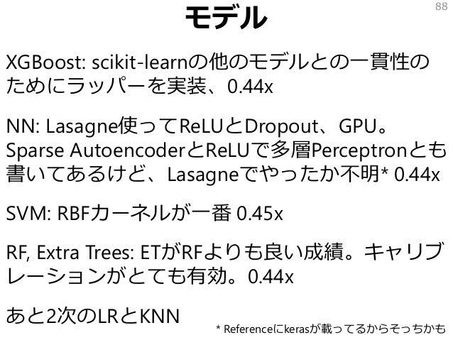 モデル XGBoost: scikit-learnの他のモデルとの一貫性の ためにラッパーを実装、0.44x NN: Lasagne使ってReLUとDropout、GPU。 Sparse AutoencoderとReLUで多層Perceptro...