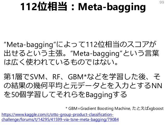 """112位相当:Meta-bagging """"Meta-bagging""""によって112位相当のスコアが 出せるという主張。""""Meta-bagging""""という言葉 は広く使われているものではない。 第1層でSVM、RF、GBM*などを学習した後、そ ..."""