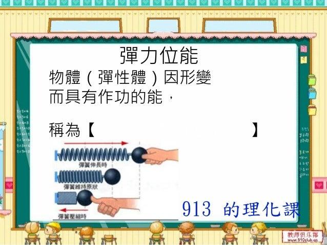 彈簧的力學能守恆 在A點時,形變量 最大, 位能【 最大 】; 速率為【 零 】, 動能為【 零 】。 913 的理化課