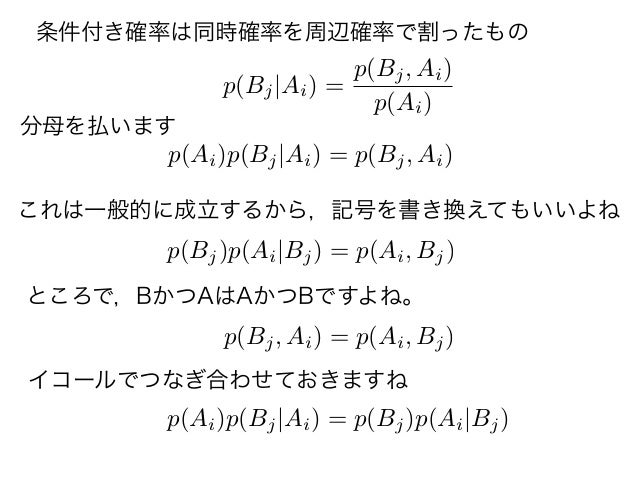 p(Bj Ai) = p(Bj, Ai) p(Ai) p(Ai)p(Bj Ai) = p(Bj, Ai) p(Bj, Ai) = p(Ai, Bj) p(Bj)p(Ai Bj) = p(Ai, Bj) p(Ai)p(Bj Ai) = p(Bj)...