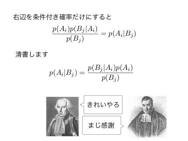 清書します p(Ai)p(Bj Ai) p(Bj) = p(Ai Bj) p(Ai Bj) = p(Bj Ai)p(Ai) p(Bj) 右辺を条件付き確率だけにすると きれいやろ まじ感謝