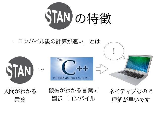 Stanの特徴 • コンパイル後の計算が速い,とは ! 人間がわかる 言葉 機械がわかる言葉に 翻訳=コンパイル ネイティブなので 理解が早いです ∼