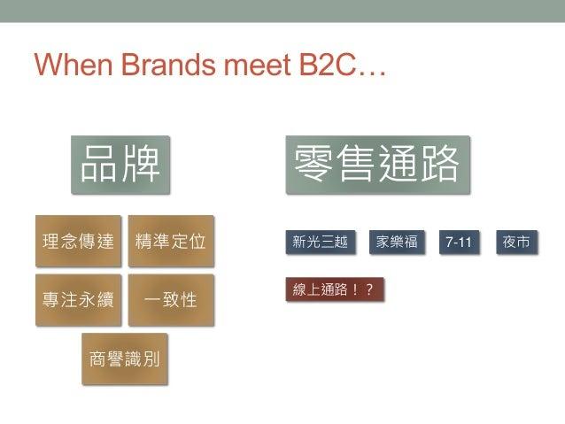 When Brands meet B2C… 理念傳達 精準定位 專注永續 一致性 商譽識別 品牌 零售通路 新光三越 家樂福 夜市 線上通路!? 7-11