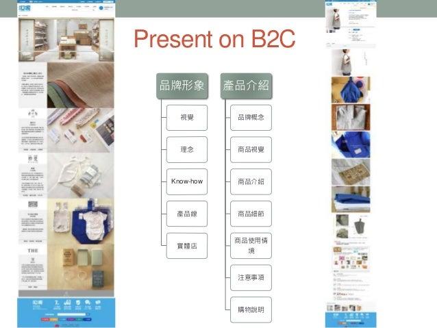 Present on B2C 品牌形象 視覺 理念 Know-how 產品線 實體店 產品介紹 品牌概念 商品視覺 商品介紹 商品細節 商品使用情 境 注意事項 購物說明