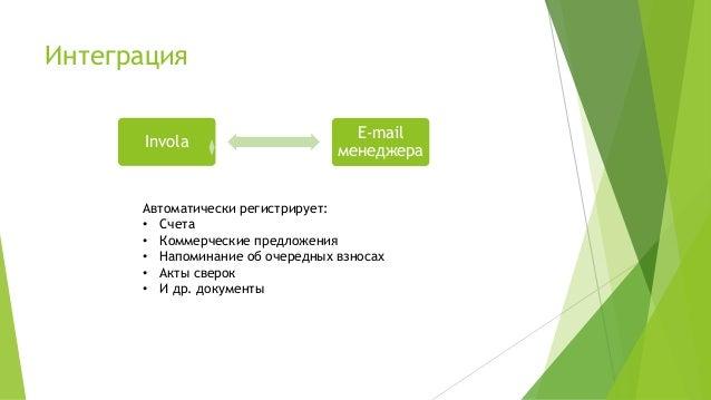 Интеграция Invola E-mail менеджера Автоматически регистрирует: • Счета • Коммерческие предложения • Напоминание об очередн...