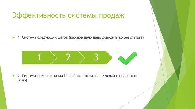 Эффективность системы продаж  1. Система следующих шагов (каждое дело надо доводить до результата)  2. Система приоритез...