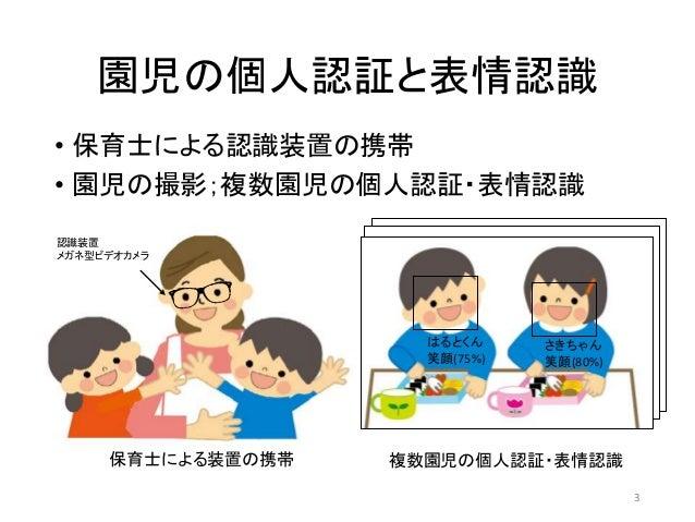 園児の個人認証と表情認識 • 保育士による認識装置の携帯 • 園児の撮影;複数園児の個人認証・表情認識 保育士による装置の携帯 さきちゃん 笑顔(80%) はるとくん 笑顔(75%) 複数園児の個人認証・表情認識 認識装置 メガネ型ビデオカメラ...