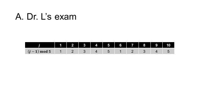 A. Dr. L's exam 𝒋 1 2 3 4 5 6 7 8 9 10 𝒋 − 𝟏  𝐦𝐨𝐝 𝟓 1 2 3 4 5 1 2 3 4 5