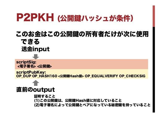 P2PKH (公開 ハッシュが条件) このお金はこの公開 の所有者だけが次に使用 できる scriptPubKey: OP_DUP OP_HASH160 <公開 Hash値> OP_EQUALVERIFY OP_CHECKSIG scriptS...