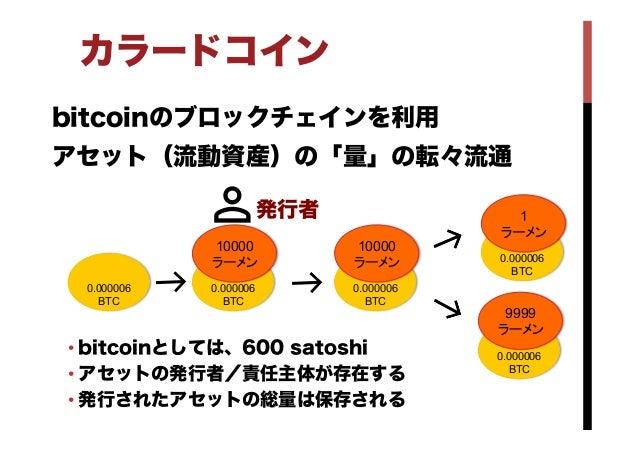 カラードコイン bitcoinのブロックチェインを利用 アセット(流動資産)の「量」の転々流通 •bitcoinとしては、600 satoshi •アセットの発行者/責任主体が存在する •発行されたアセットの総量は保存される 0.0000...
