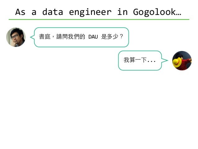 As  a  data  engineer  in  Gogolook… 書庭,請問我們的  DAU  是多少? 可以分版本嗎? 可以分國家嗎?