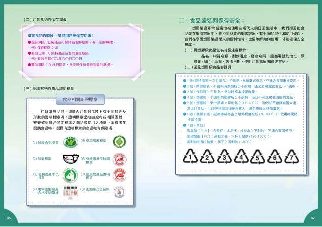 06 07 ( 三 ) 認識常見的食品證明標章 在挑選食品時,您是否注意到包裝上有不同顏色及 形狀的證明標章呢?證明標章是指由政府或相關團體, 審查確認符合特定標準之商品或使用之標識。消費者在 選購食品時,選擇有證明標章的商品較有保障喔! (1...