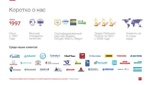 Эффективность онлайн маркетинга медицинских центров Slide 2