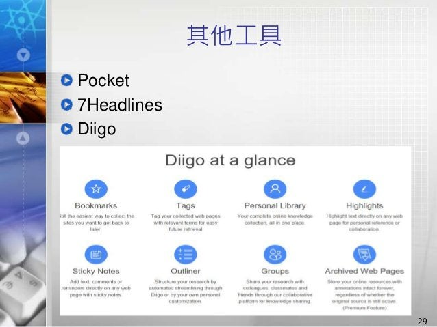 其他工具 Pocket 7Headlines Diigo 29
