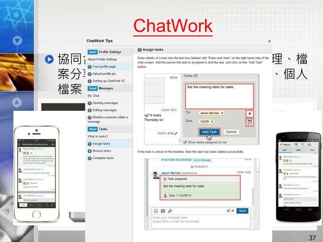 ChatWork 協同合作軟體:包含文字聊天、工作管理、檔 案分享、影音聊天、聯絡人管理、通知、個人 檔案、使用者管理等功能 37
