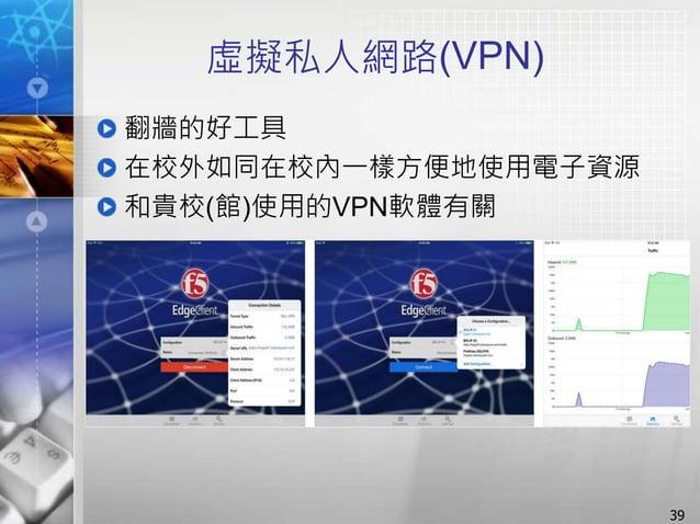 虛擬私人網路(VPN) 翻牆的好工具 在校外如同在校內一樣方便地使用電子資源 和貴校(館)使用的VPN軟體有關 39