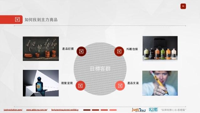 "justvsolution.com/ ""品牌致勝⼼心法-基礎篇""www.addons.com.tw/ fortunenina.pixnet.net/blog ⺫⽬目標客群 11 ! 如何找到主⼒力商品 ! 產品訂價 ! 外觀包裝 ! 視覺呈現 ..."