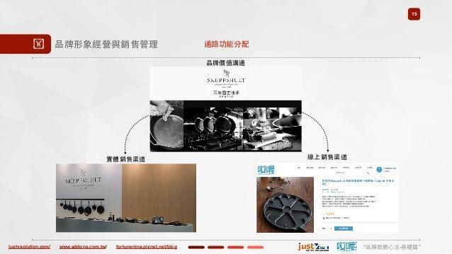 """justvsolution.com/ """"品牌致勝⼼心法-基礎篇""""www.addons.com.tw/ fortunenina.pixnet.net/blog 15 ! 品牌形象經營與銷售管理 通路功能分配 品牌價值溝通 線上銷售渠道實體銷售渠道"""