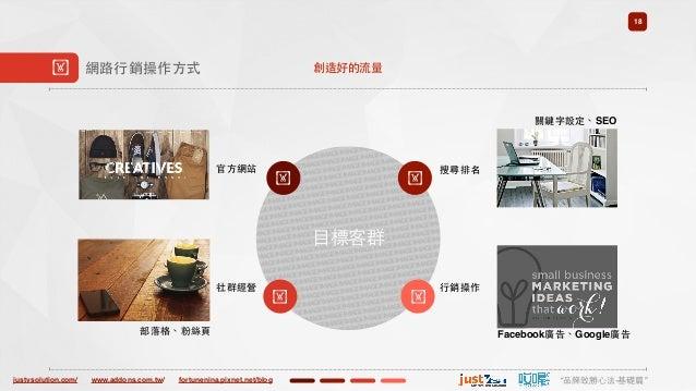 "justvsolution.com/ ""品牌致勝⼼心法-基礎篇""www.addons.com.tw/ fortunenina.pixnet.net/blog ⺫⽬目標客群 18 ! 網路⾏行銷操作⽅方式 ! 官⽅方網站 ! 搜尋排名 ! 社群經..."