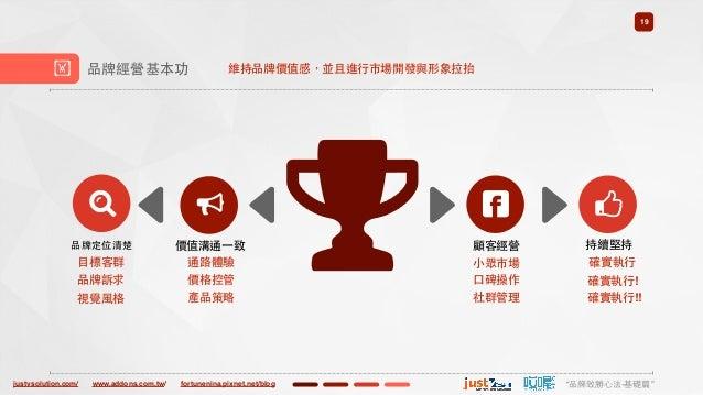 "justvsolution.com/ ""品牌致勝⼼心法-基礎篇""www.addons.com.tw/ fortunenina.pixnet.net/blog 19 ! 品牌經營基本功 品牌定位清楚 價值溝通⼀一致 通路體驗 價格控管 顧客經營 ..."