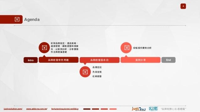"justvsolution.com/ ""品牌致勝⼼心法-基礎篇""www.addons.com.tw/ fortunenina.pixnet.net/blog 4 ! Agenda Intro ! 品牌經營常⾒見問題 針對品牌設定、產品策略、 通..."