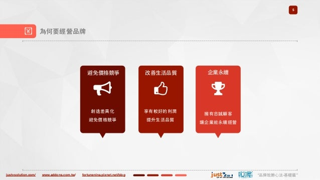 "justvsolution.com/ ""品牌致勝⼼心法-基礎篇""www.addons.com.tw/ fortunenina.pixnet.net/blog 5 ! 為何要經營品牌 避免價格競爭 創造差異化 避免價格競爭 改善⽣生活品質 享有較..."