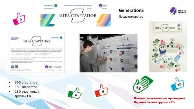 Предакселератор Концепт, визуализация, проведение Ведение онлайн группы в FB GenerationS • 360 стартапов • 150 экспертов •...