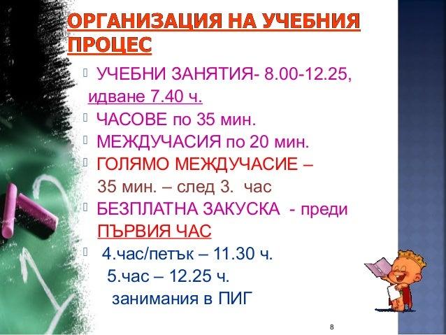  УЧЕБНИ ЗАНЯТИЯ- 8.00-12.25, идване 7.40 ч.  ЧАСОВЕ по 35 мин.  МЕЖДУЧАСИЯ по 20 мин.  ГОЛЯМО МЕЖДУЧАСИЕ – 35 мин. – с...