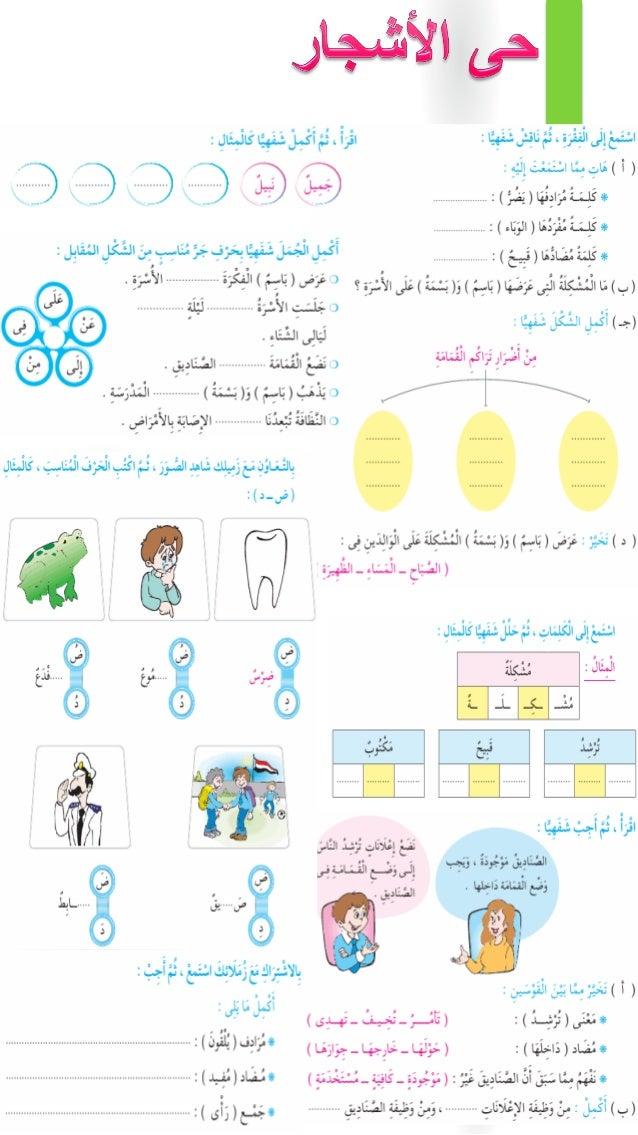 تدريبات كتاب سلاح التلميذ فى اللغة العربية للصف الثالث الابتدائى الترم الأول Slide 3