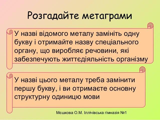 Мєшкова О.М. Іллічівська гімназія №1 Розгадайте метаграми У назві відомого металу замініть одну букву і отримайте назву сп...