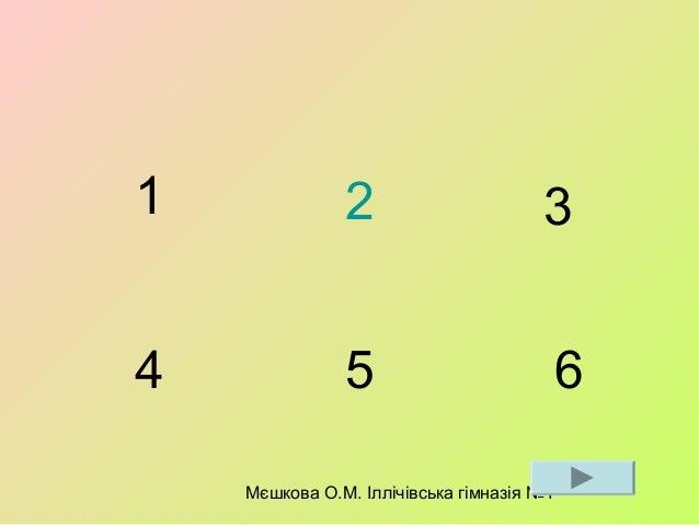 Мєшкова О.М. Іллічівська гімназія №1 1 2 3 4 5 6