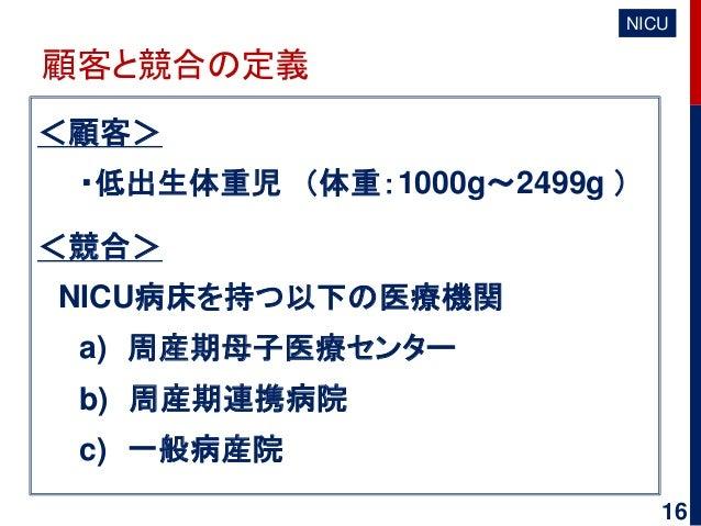 顧客と競合の定義 <顧客> ・低出生体重児 (体重:1000g~2499g ) <競合> NICU病床を持つ以下の医療機関 a) 周産期母子医療センター b) 周産期連携病院 c) 一般病産院 NICU 16