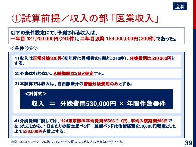 ①試算前提/収入の部 「医業収入」 以下の条件設定にて、予測される収入は、 一年目 127,200,000円(240件)、二年目以降 159,000,000円(300件)であった。 4)分娩費用に関しては、H24東京都の平均費用が566,310...
