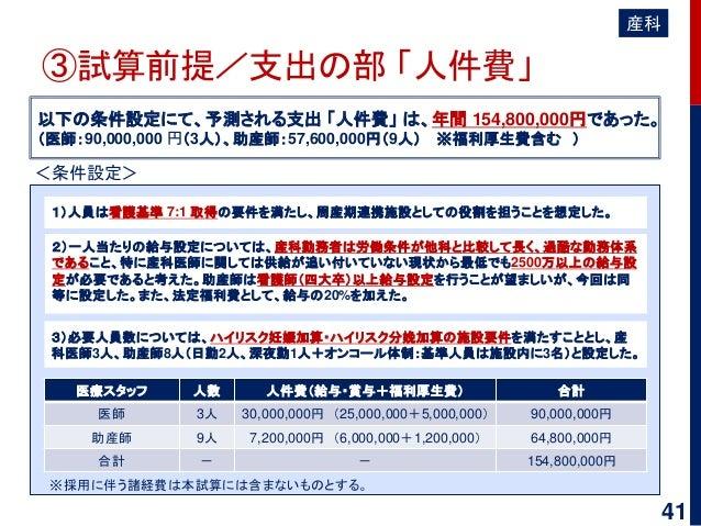 ③試算前提/支出の部 「人件費」 以下の条件設定にて、予測される支出 「人件費」 は、年間 154,800,000円であった。 (医師:90,000,000 円(3人)、助産師:57,600,000円(9人) ※福利厚生費含む ) 3)必要人員...