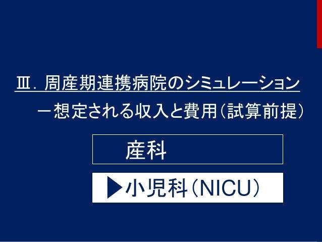 Ⅲ.周産期連携病院のシミュレーション -想定される収入と費用(試算前提) 産科 小児科(NICU) 46