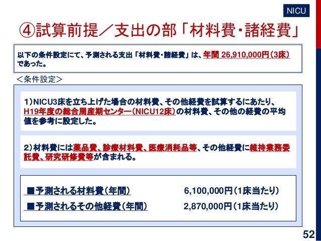 ④試算前提/支出の部 「材料費・諸経費」 NICU 以下の条件設定にて、予測される支出 「材料費・諸経費」 は、年間 26,910,000円(3床) であった。 1)NICU3床を立ち上げた場合の材料費、その他経費を試算するにあたり、 H19年...