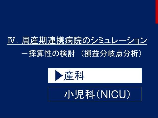 53 Ⅳ.周産期連携病院のシミュレーション -採算性の検討 (損益分岐点分析) 産科 小児科(NICU)