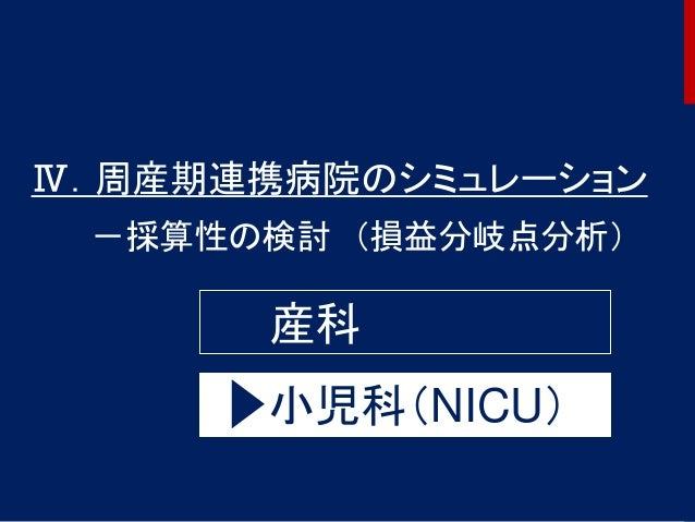58 Ⅳ.周産期連携病院のシミュレーション -採算性の検討 (損益分岐点分析) 産科 小児科(NICU)