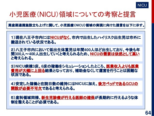 小児医療(NICU)領域についての考察と提言 NICU 周産期連携施設立ち上げに関して、小児医療(NICU)領域の実現に向けた提言を以下に示す。 3)NICU病棟3床、6床の稼働をシミュレーションしたところ、医業収入よりも医業 費用が大幅に上回...