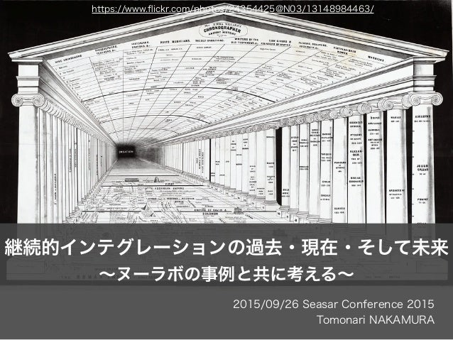 2015/09/26 Seasar Conference 2015 Tomonari NAKAMURA 継続的インテグレーションの過去・現在・そして未来 ∼ヌーラボの事例と共に考える∼ https://www.flickr.com/photos/...