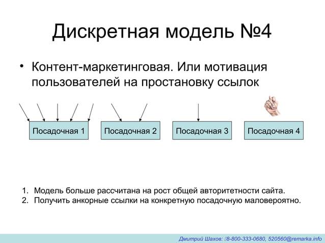 Дискретная модель №4 • Контент-маркетинговая. Или мотивация пользователей на простановку ссылок Посадочная 1 Посадочная 2 ...