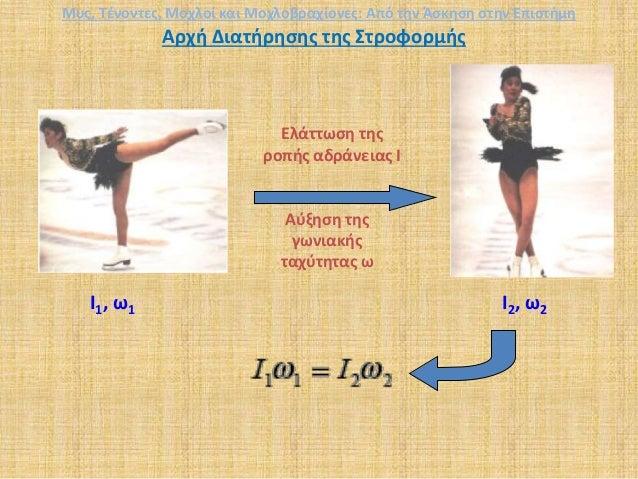 Αρχή Διατήρησης της Στροφορμής Ελάττωση της ροπής αδράνειας I Αύξηση της γωνιακής ταχύτητας ω I1, ω1 I2, ω2 Μυς, Τένοντες,...