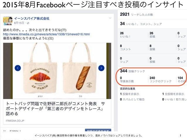 2015年8月Facebookページ注目すべき投稿のインサイト 1イーンスパイア(株) 横田秀珠の著作権を尊重しつつ、是非ノウハウはシェアして行きましょう。