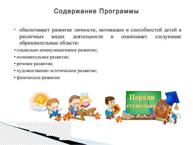  обеспечивает развитие личности, мотивации и способностей детей в различных видах деятельности и охватывает следующие обр...