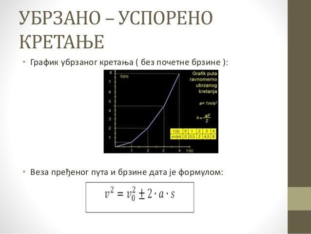 УБРЗАНО – УСПОРЕНО КРЕТАЊЕ • График убрзаног кретања ( без почетне брзине ): • Веза пређеног пута и брзине дата је формуло...