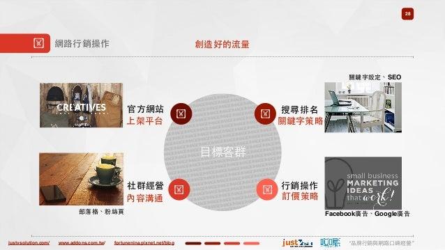 "justvsolution.com/ ""品牌⾏行銷與網路⼝口碑經營""www.addons.com.tw/ fortunenina.pixnet.net/blog ⺫⽬目標客群 28 ! 網路⾏行銷操作 !官⽅方網站 ! 搜尋排名 !社群經營 !..."