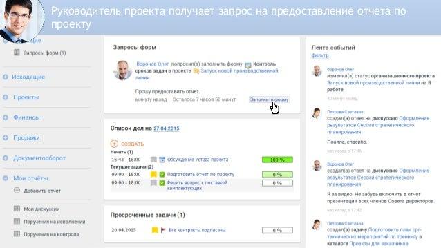 Топ-менеджер получает заполненные отчеты от всех Руководителей проектов
