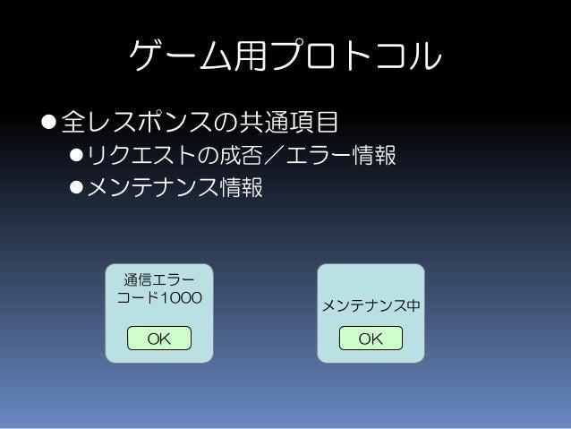 ゲーム用プロトコル 全レスポンスの共通項目 リクエストの成否/エラー情報 メンテナンス情報 通信エラー コード1000 OK メンテナンス中 OK