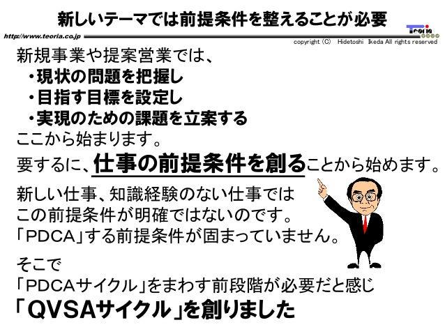 新しいテーマでは前提条件を整えることが必要 http://www.teoria.co.jp copyright (C) Hidetoshi Ikeda All rights reserved 新規事業や提案営業では、 ・現状の問題を把握し ・目...